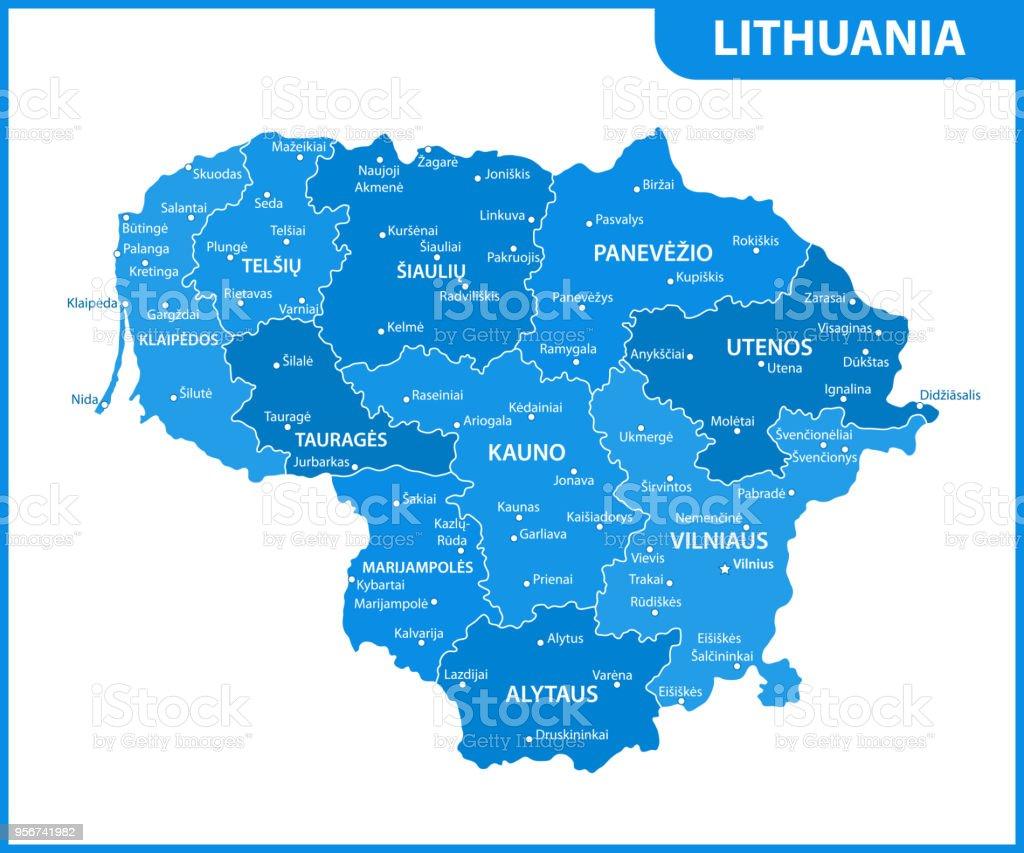 リトアニアの地域または州と都市...