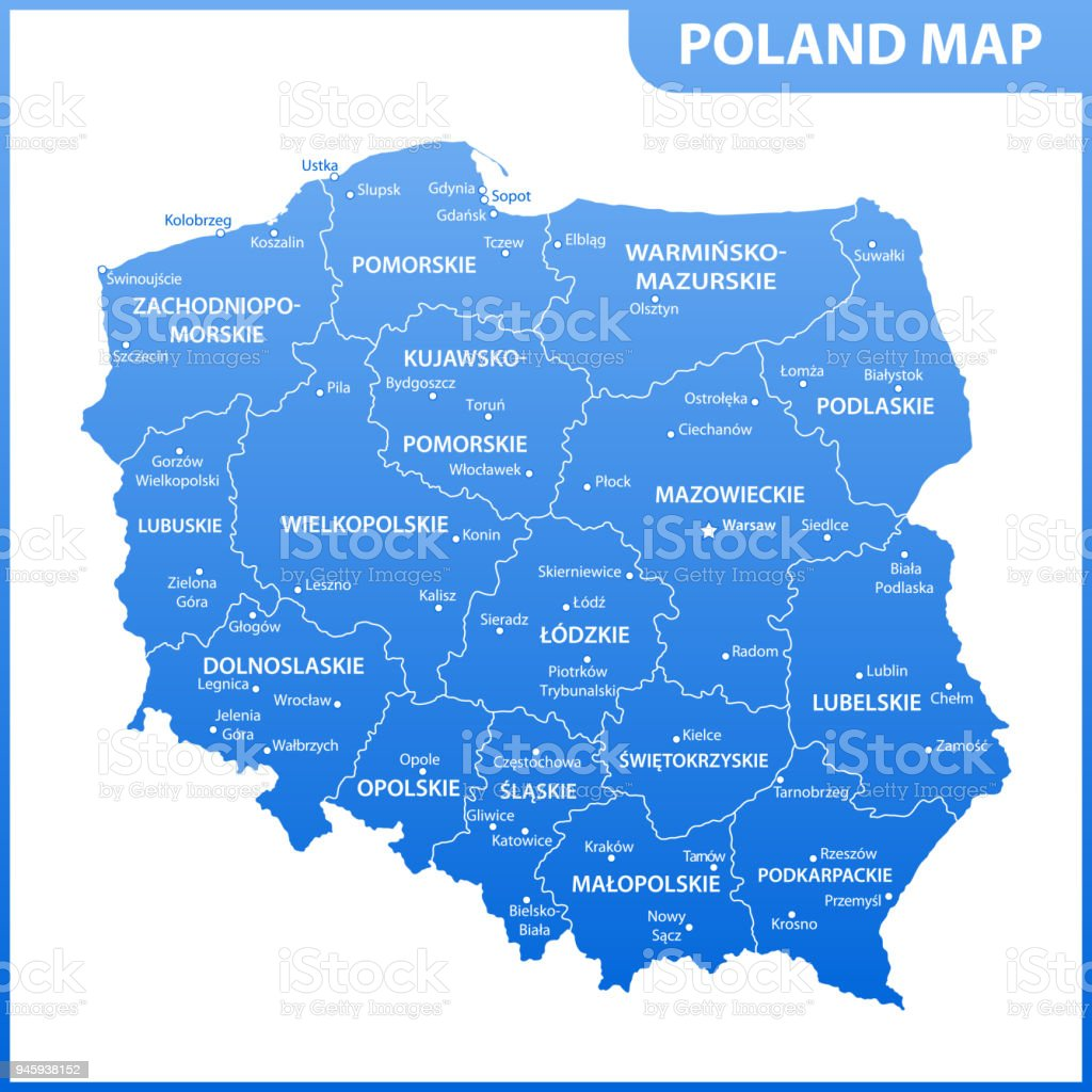 The detailed map of poland with regions or states and cities globe navigational equipment map world map continent geographic area country geographic area gumiabroncs Image collections