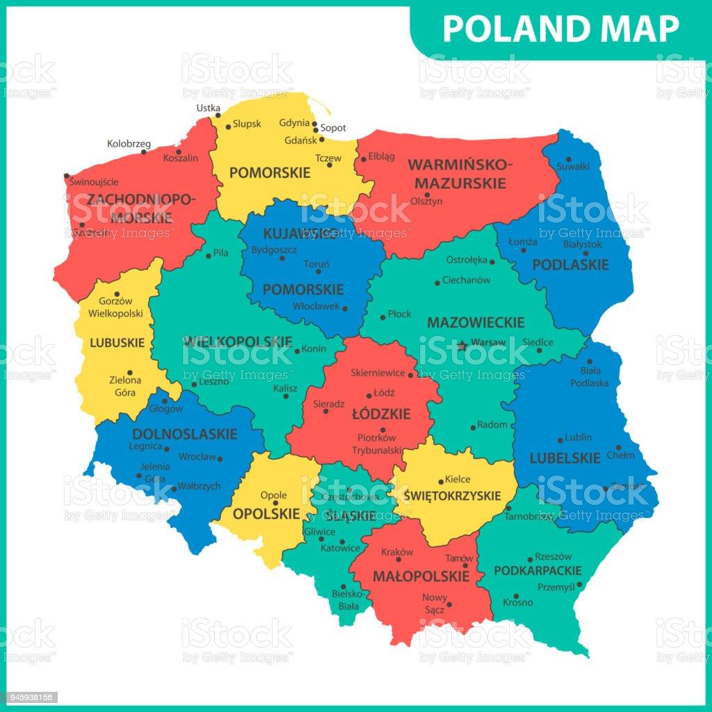 Usa Staaten Karte Mit Hauptstädten.Die Detaillierte Karte Von Polen Mit Den Regionen Oder Staaten Und