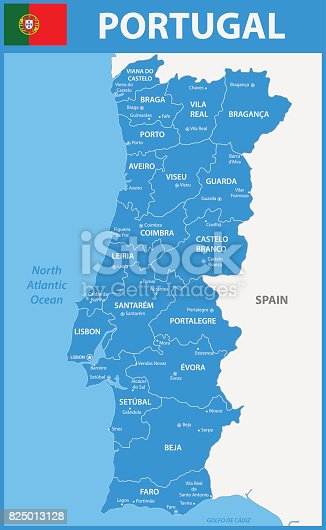 The Detailed Map Of Portugal With Regions Or States And Cities - Portugal map north