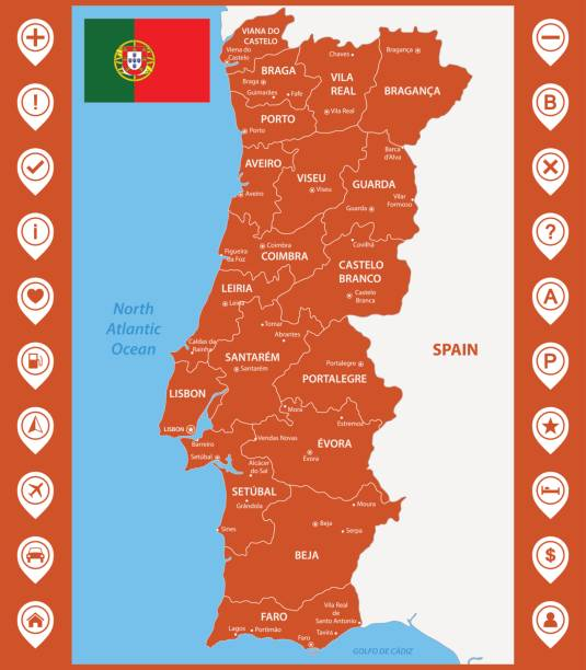 ilustrações de stock, clip art, desenhos animados e ícones de the detailed map of portugal with regions or states and cities, capitals. with map pins or pointers. place location markers or signs - ilha da madeira