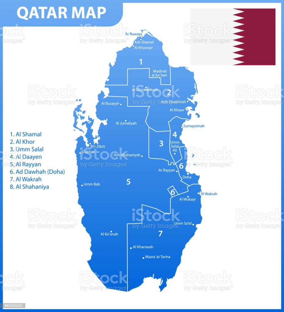 The Detailed Map Of Qatar With Regions Or States And Cities Capital ...