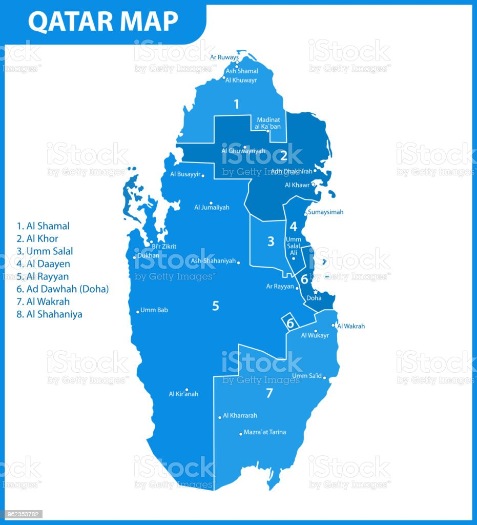 The detailed map of qatar with regions or states and cities capital the detailed map of qatar with regions or states and cities capital administrative division gumiabroncs Image collections