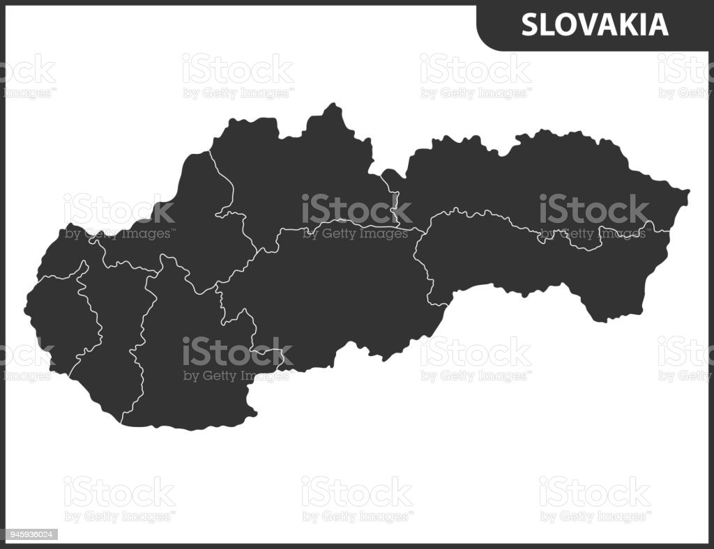 The Detailed Map Of Slovakia With Regions Or States Administrative
