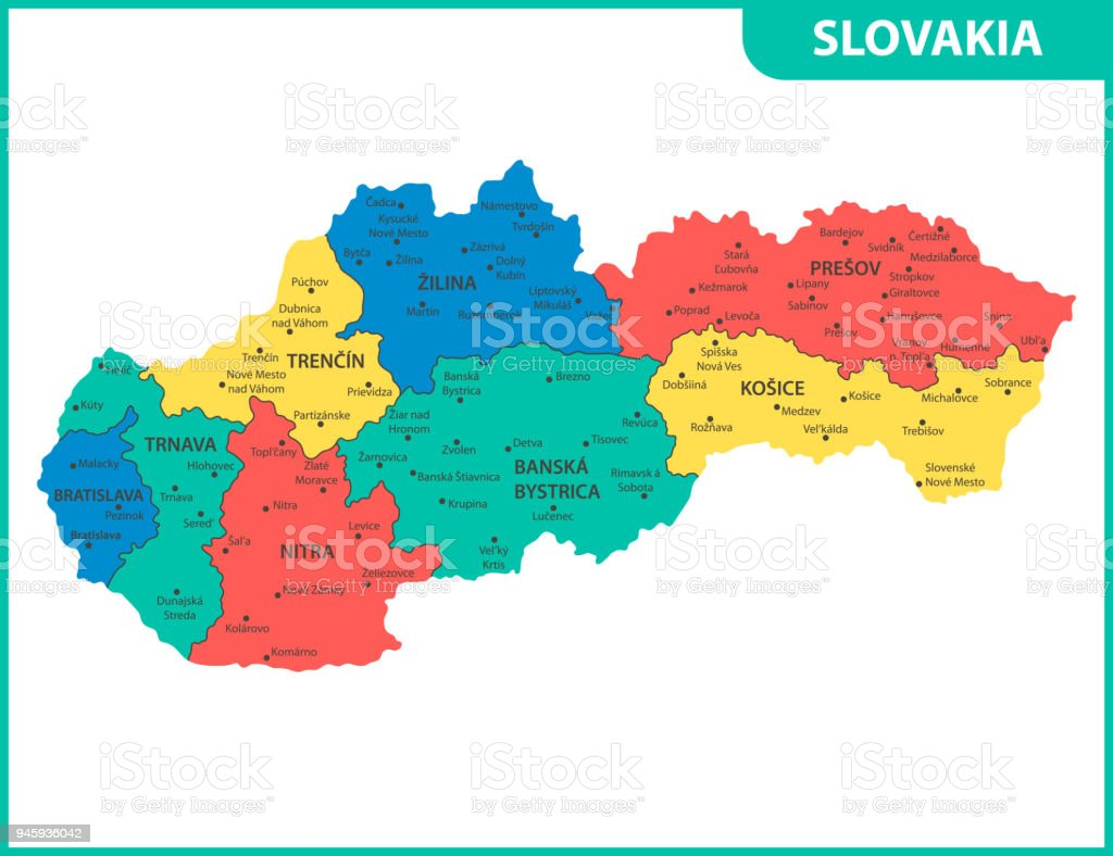 The Detailed Map Of Slovakia With Regions Or States And Cities