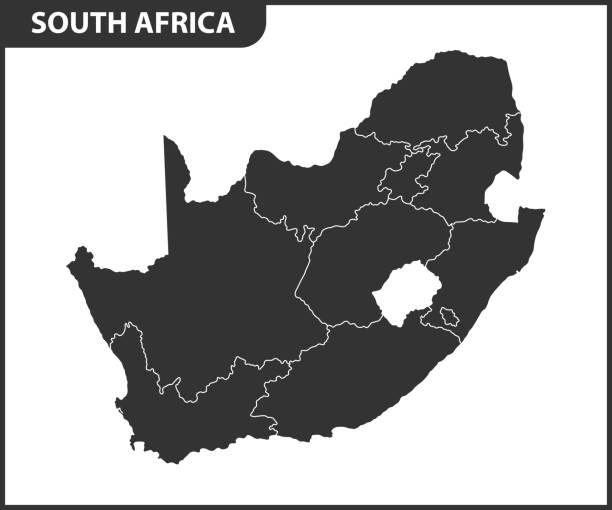 bildbanksillustrationer, clip art samt tecknat material och ikoner med detaljerad karta över sydafrika med regioner eller stater. administrativ indelning - south africa