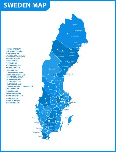 bildbanksillustrationer, clip art samt tecknat material och ikoner med detaljerad karta över sverige med regioner eller stater och städer, kapital. administrativ indelning. - sweden map