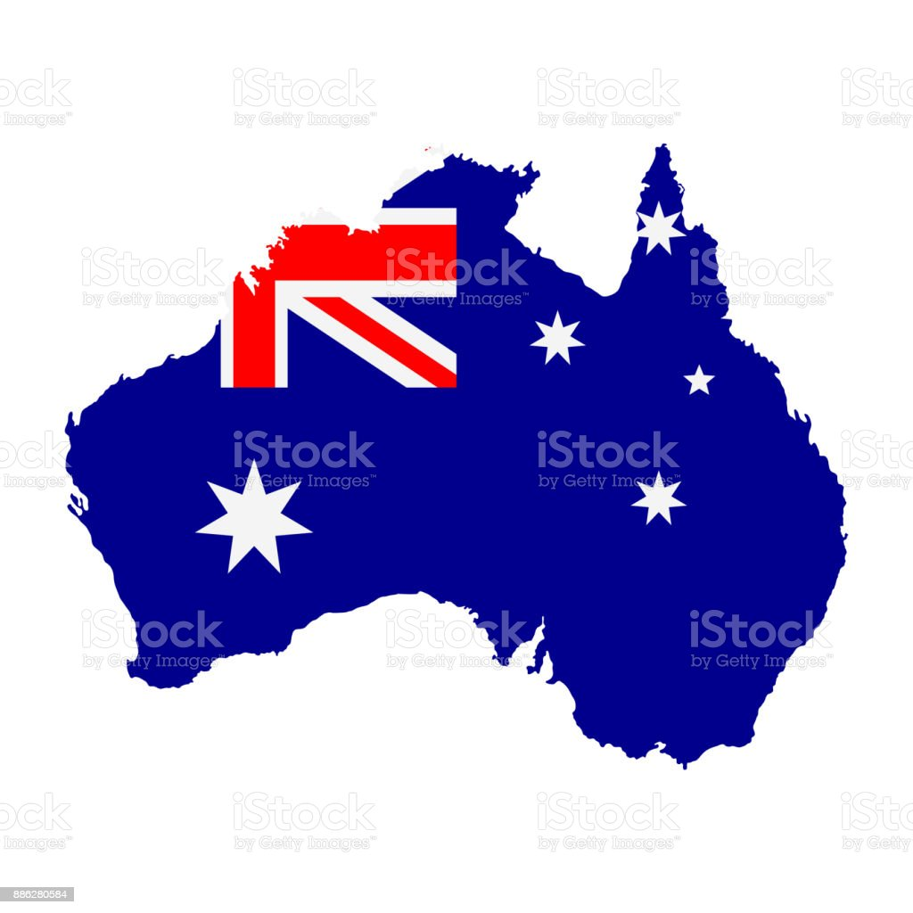 The detailed map of the Australia with National Flag vector art illustration