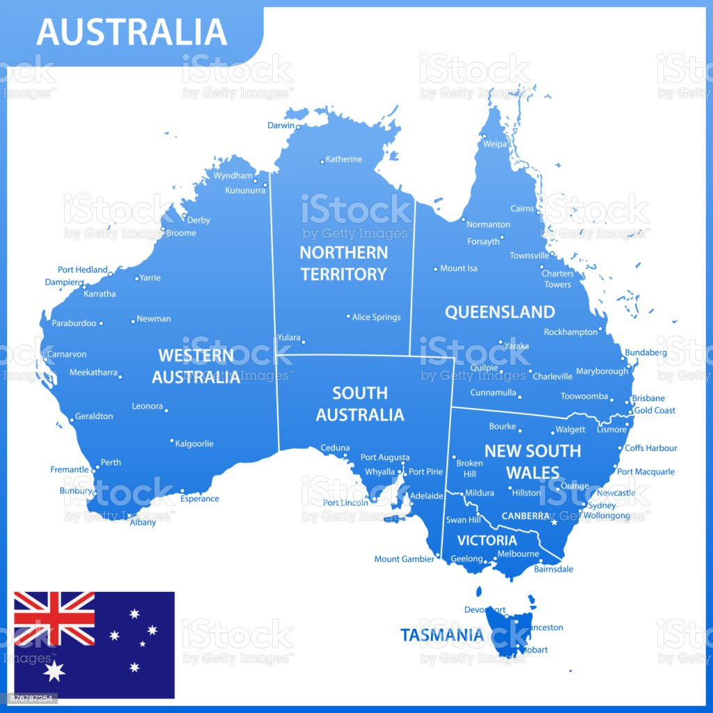 The detailed map of the Australia with regions or states and cities, capitals, national flag vector art illustration