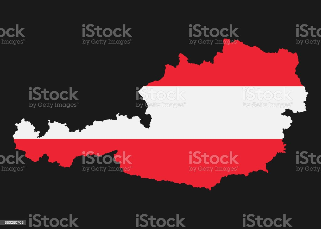 The detailed map of the Austria with National Flag vector art illustration