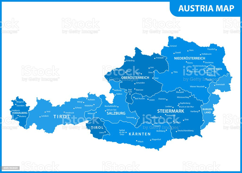 The detailed map of the Austria with regions or states and cities, capital vector art illustration