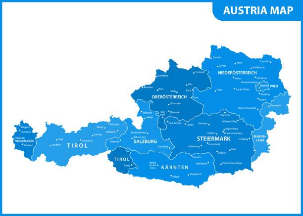 bildbanksillustrationer, clip art samt tecknat material och ikoner med detaljerad karta över österrikes med regioner eller stater och städer, kapital - salzburg