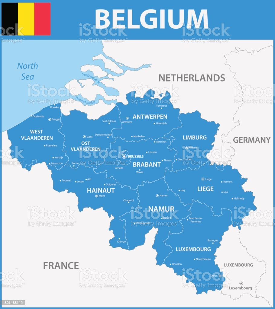 The detailed map of the Belgium with regions or states and cities, capitals. vector art illustration