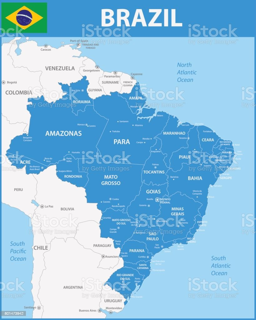The detailed map of the Brazil with regions or states and cities, capitals. vector art illustration
