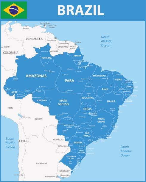 ilustrações, clipart, desenhos animados e ícones de o mapa detalhado do brasil com regiões ou estados e cidades, capitais. - brazil map