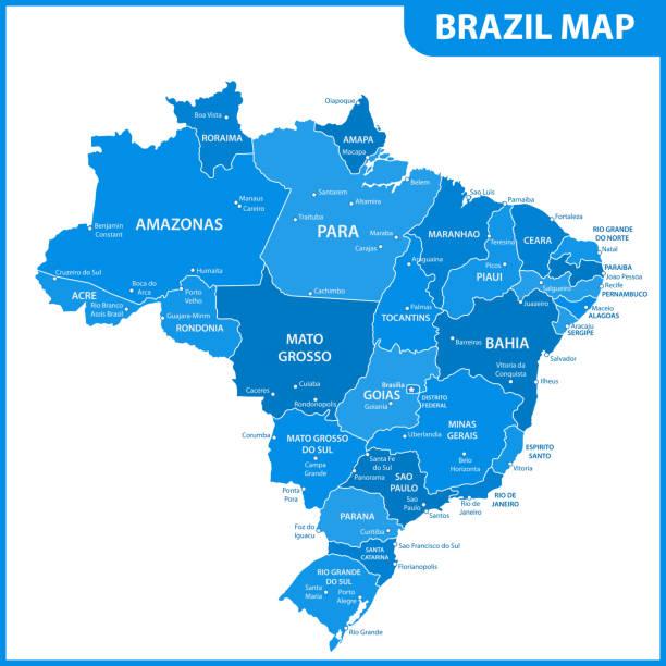 ilustrações, clipart, desenhos animados e ícones de o mapa detalhado do brasil com regiões ou estados e cidades, capitais - manaus
