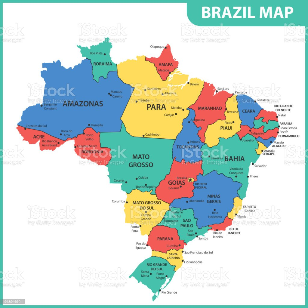 The detailed map of the brazil with regions or states and cities the detailed map of the brazil with regions or states and cities capitals royalty gumiabroncs Image collections
