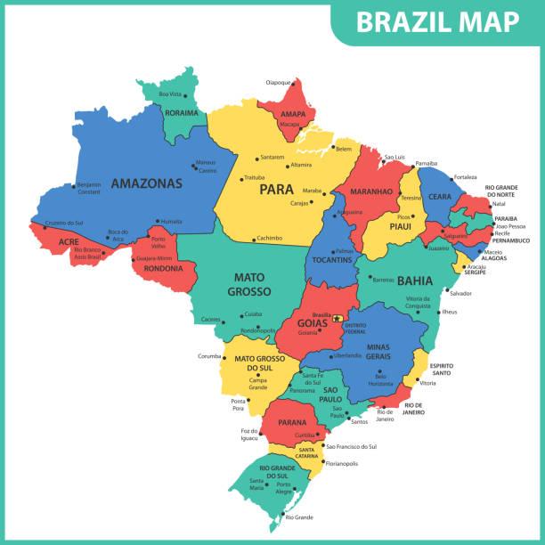 ilustrações, clipart, desenhos animados e ícones de o mapa detalhado do brasil com regiões ou estados e cidades, capitais - brazil map