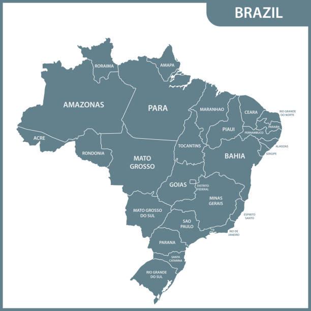 ilustrações, clipart, desenhos animados e ícones de o mapa detalhado do brasil com regiões ou estados - brazil map