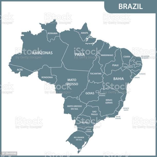 Vetores de O Mapa Detalhado Do Brasil Com Regiões Ou Estados e mais imagens de Brasil