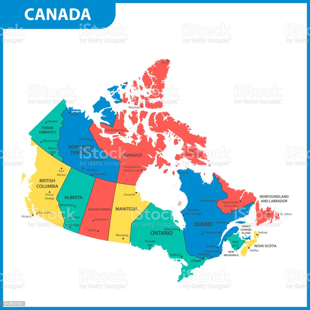 the detailed map of the canada with regions or states and cities capitals royalty