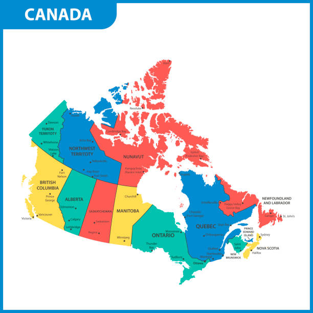 The detailed map of the Canada with regions or states and cities, capitals The detailed map of the Canada with regions or states and cities, capitals mississauga stock illustrations