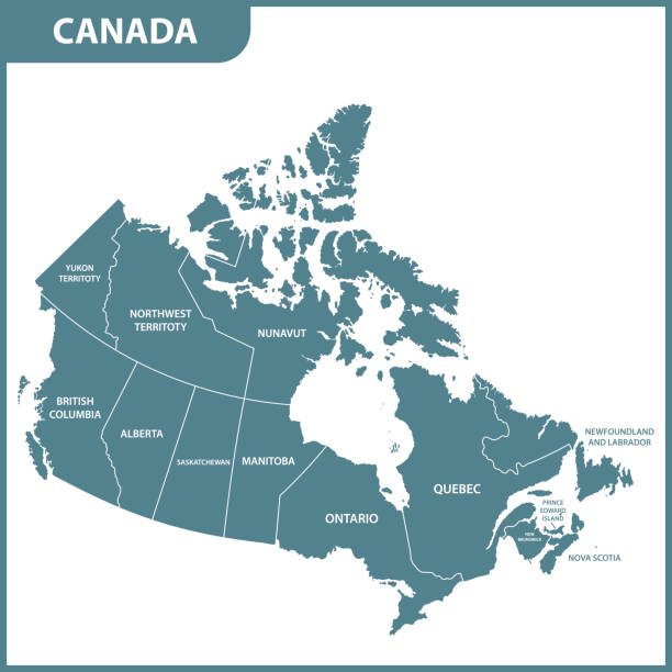 The detailed map of the Canada with regions or states The detailed map of the Canada with regions or states mississauga stock illustrations