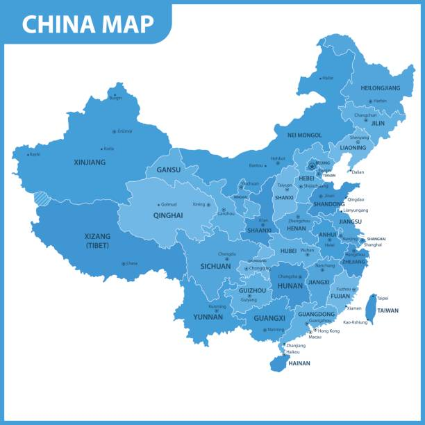 the detailed map of the china with regions or states and cities, capitals - china map stock illustrations, clip art, cartoons, & icons