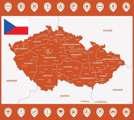 地域または州と都市首都のチェコ共和国の詳細地図マップのピンまたはポインターです場所場所のマーカーや兆候 - アイコンのベクターアート素材や画像を多数ご用意