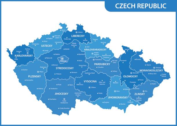 the detailed map of the czech republic with regions or states and cities, capitals - republika czeska stock illustrations