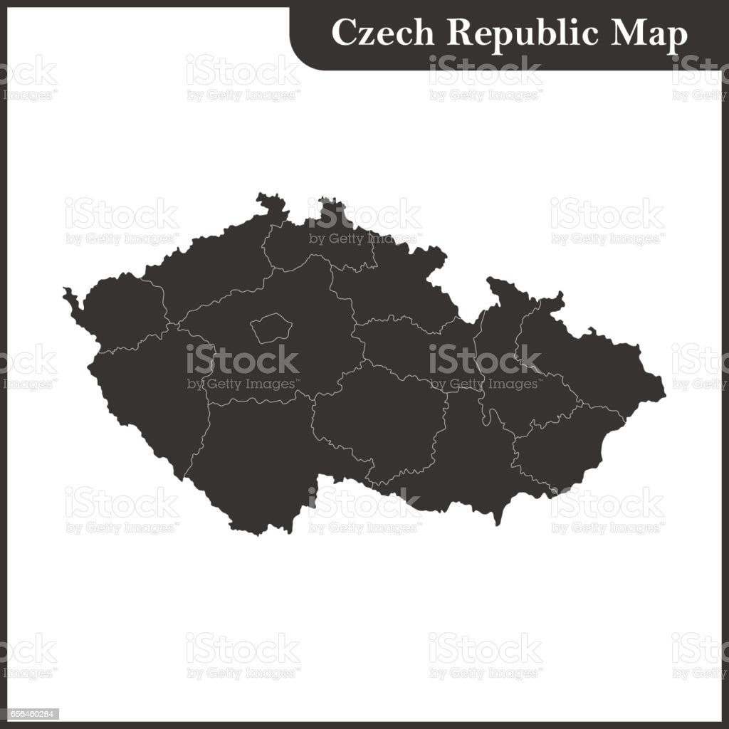 The detailed map of the Czech Republic with regions vector art illustration