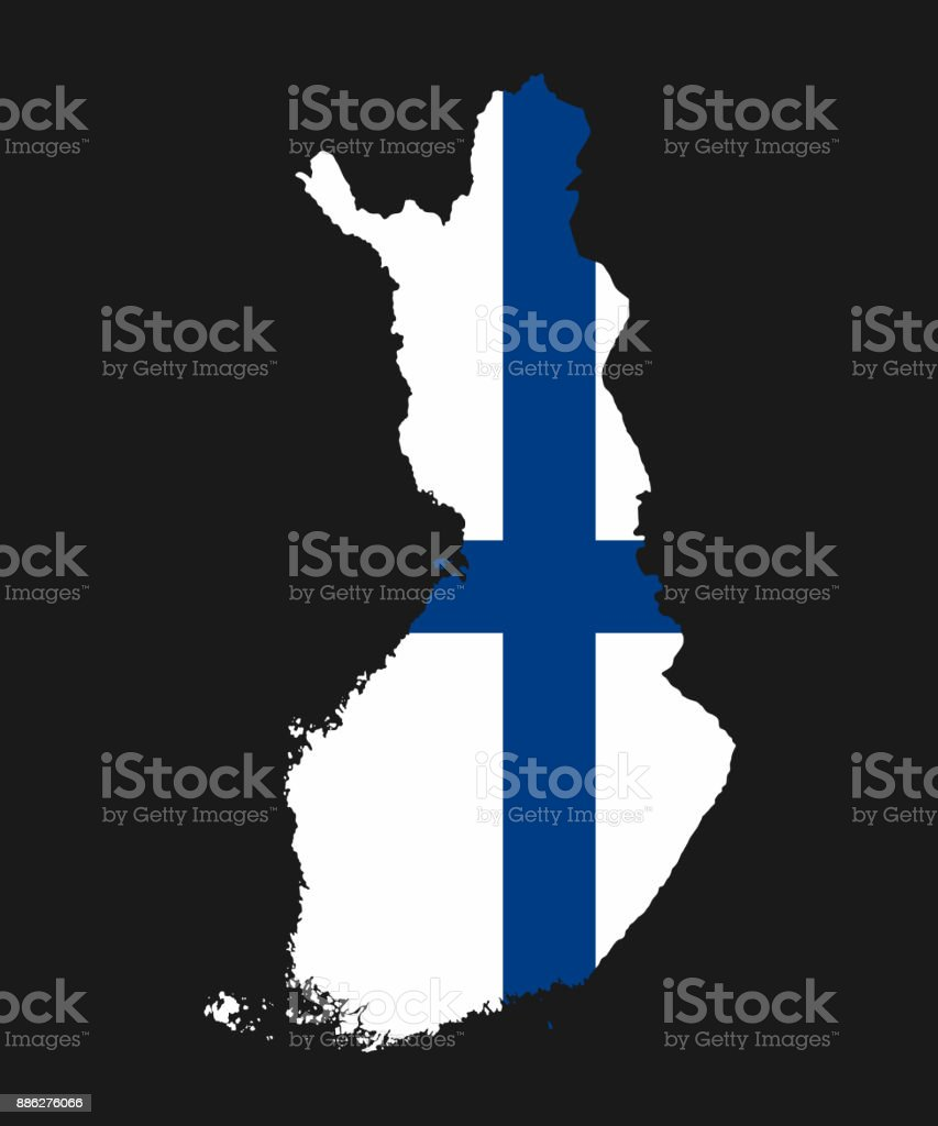 The detailed map of the Finland with National Flag vector art illustration