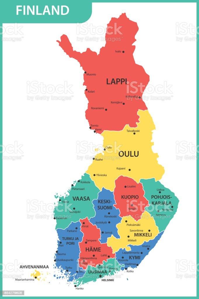 地域または州と都市と首都とフィンランドの詳細地図 - Uusimaaの ...