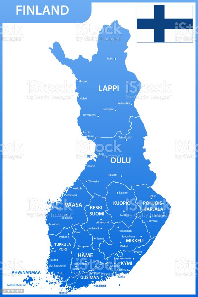 The detailed map of the Finland with regions or states and cities, capitals, national flag vector art illustration