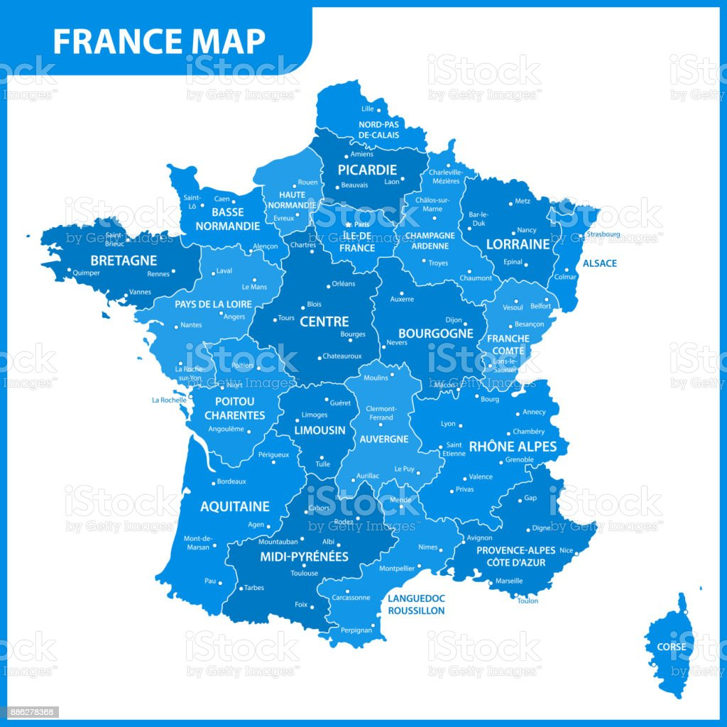 The detailed map of the France with regions or states and cities, capital vector art illustration