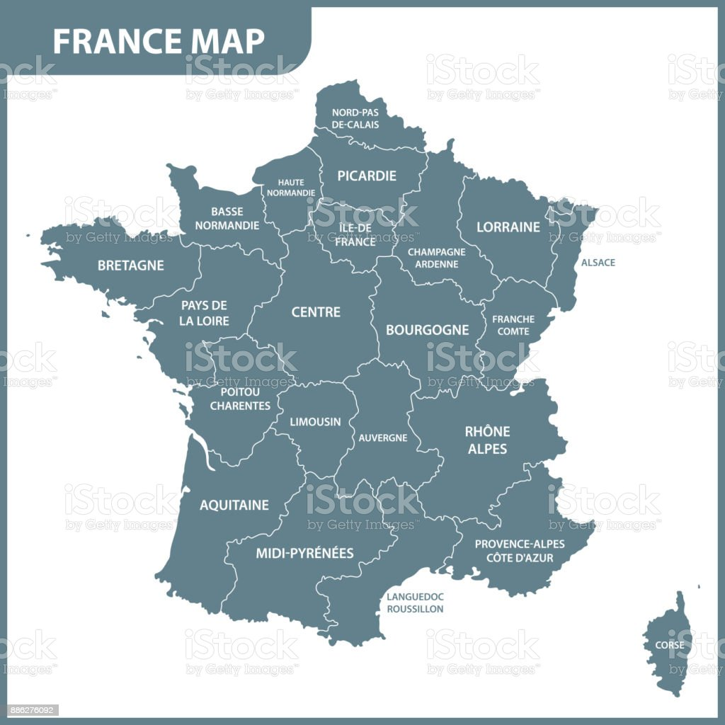 Detailed Map Of France Regions.The Detailed Map Of The France With Regions Or States Stock