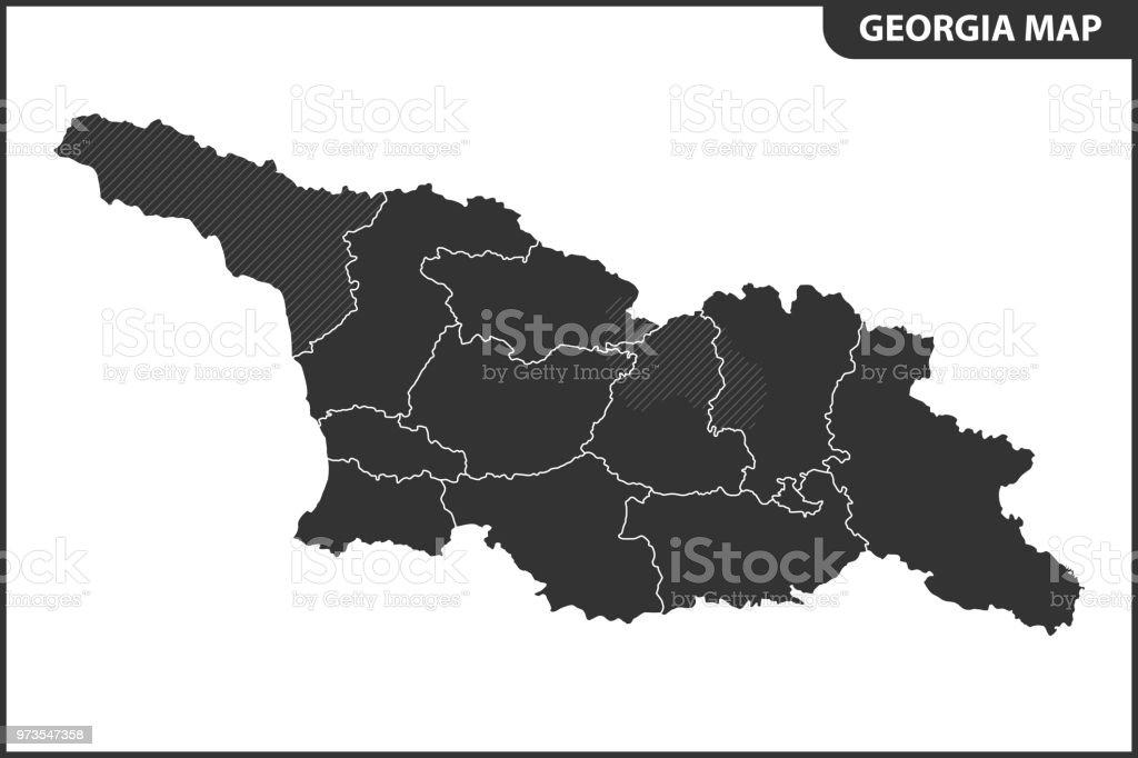 Georgien Karte Regionen.Die Detaillierte Karte Von Georgien Mit Regionen Oder Staaten