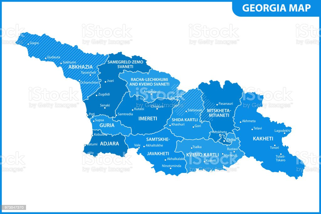 Map Of Georgia 5 Regions.The Detailed Map Of The Georgia With Regions Or States And Cities