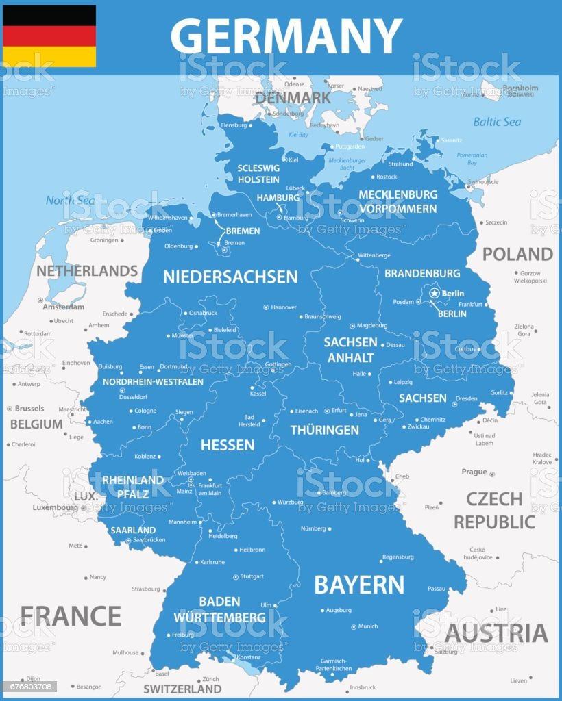 Map Of States Of Germany.The Detailed Map Of The Germany With Regions Or States And Cities