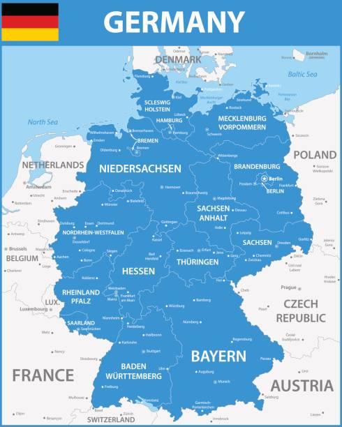 El mapa detallado de Alemania con regiones o Estados, ciudades y capitales. - ilustración de arte vectorial