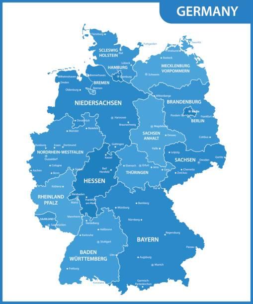 szczegółowa mapa niemiec z regionami lub państwami i miastami, stolicami - niemcy stock illustrations