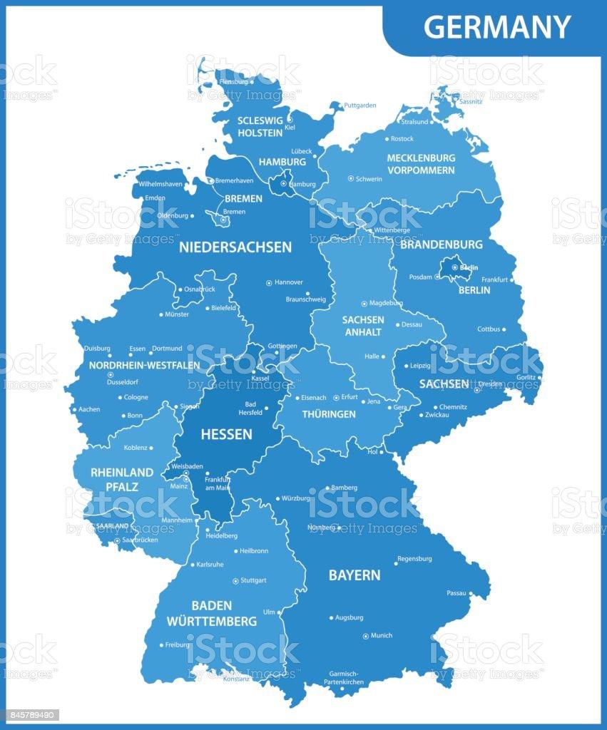 O mapa detalhado da Alemanha com regiões ou Estados e cidades, capitais - ilustração de arte em vetor