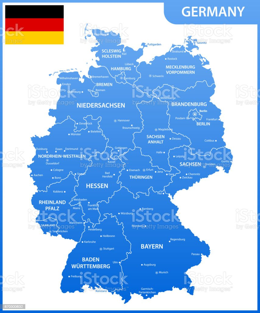 The detailed map of the Germany with regions or states and cities, capitals, national flag vector art illustration
