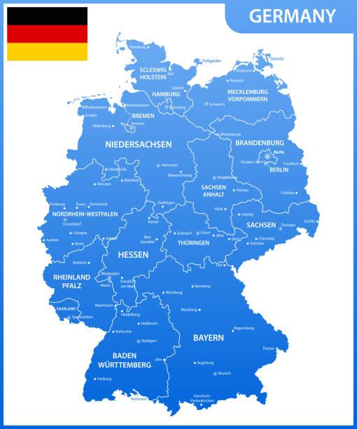 bildbanksillustrationer, clip art samt tecknat material och ikoner med detaljerad karta över tysklands med regioner eller stater och städer, huvudstäder, flagga - germany map leipzig