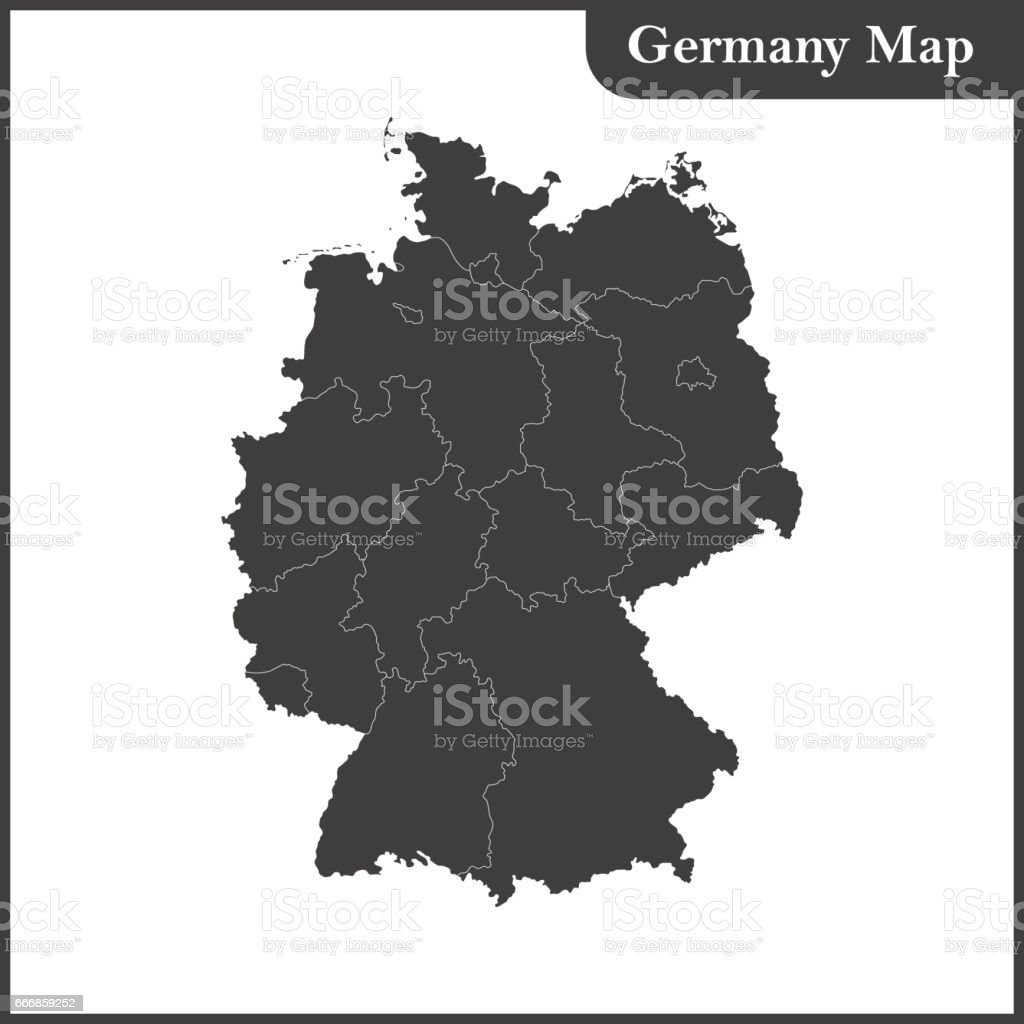 The detailed map of the Germany with regions - ilustração de arte em vetor