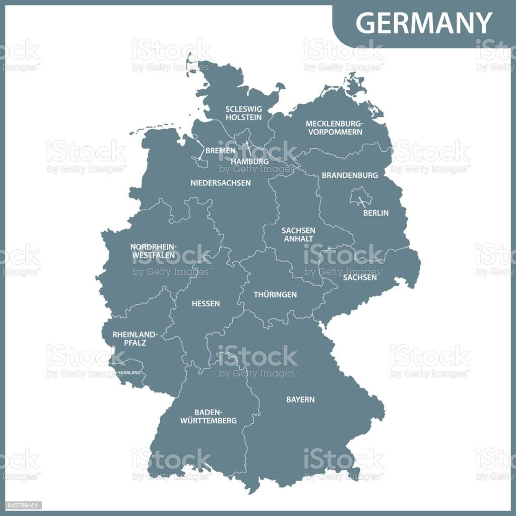 O mapa detalhado da Alemanha com regiões - ilustração de arte em vetor