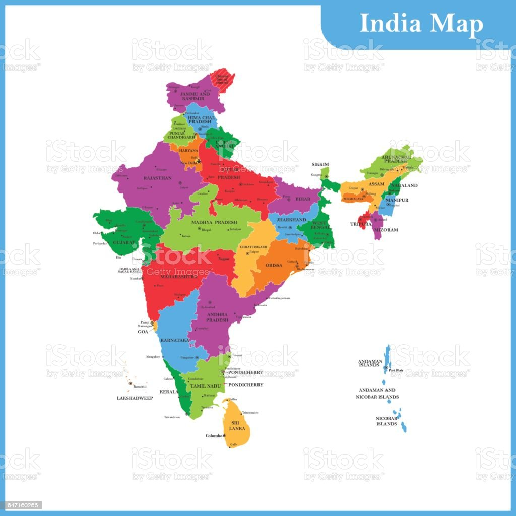 The detailed map of the India with regions or states and cities, capitals and Sri Lanka vector art illustration