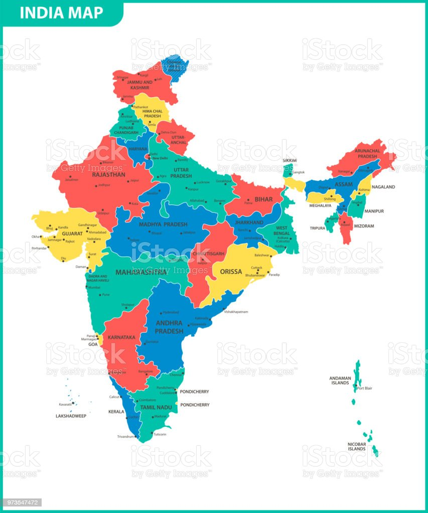 the detailed map of the india with regions or states and cities capital administrative
