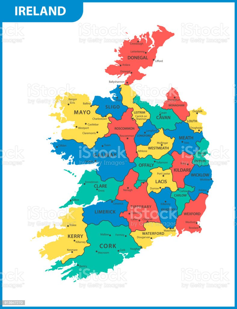 Detailed Map Of Ireland Vector.The Detailed Map Of The Ireland With Regions Or States And Cities
