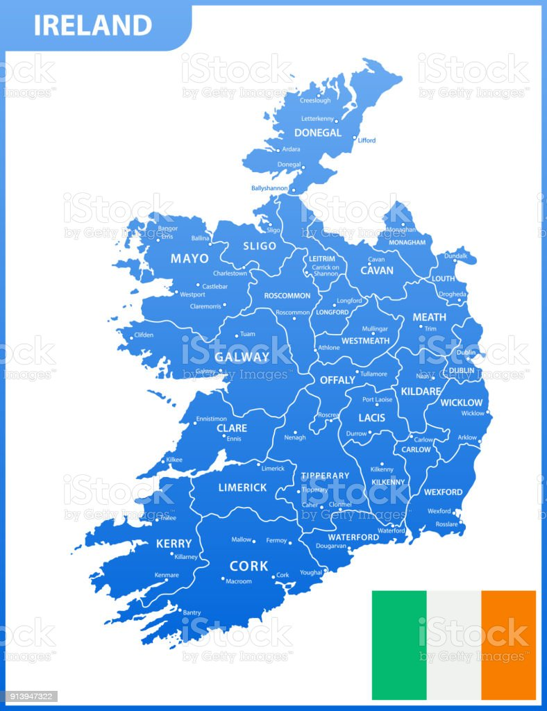Ireland Map With Cities.The Detailed Map Of The Ireland With Regions Or States And Cities